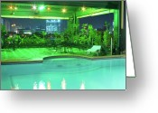 Cebucity Greeting Cards - Mango Park Hotel Roof Top Pool Greeting Card by James Bo Insogna