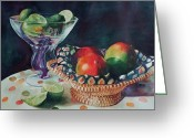 Mango Greeting Cards - Mango With a Twist of Lime Greeting Card by Leslie Berman