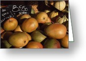 Image Type Photo Greeting Cards - Mangoes And Melons Priced In Euros Greeting Card by David Evans