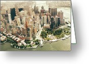 Waterfront Greeting Cards - Manhattan Greeting Card by Albert Mollon