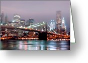 Christmas Lights Greeting Cards - Manhattan And Brooklyn Bridge Under Fog. Greeting Card by Shobeir Ansari