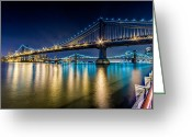 Harlem River Greeting Cards - Manhattan and Brooklyn Bridges at night. Greeting Card by Val Black Russian Tourchin