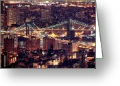 New York State Greeting Cards - Manhattan And Brooklyn Bridges Greeting Card by Rob Kroenert