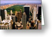 Central Park Greeting Cards - Manhattan and Central Park Greeting Card by Monique Wegmueller