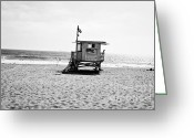 Scott Greeting Cards - Manhattan Beach Lifeguard Shack Greeting Card by Scott Pellegrin