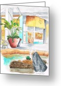 Los Angeles Painting Greeting Cards - Manhattan-Beach-Mall-inside-fountain-california Greeting Card by Carlos G Groppa