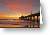 Pacific Ocean Photo Greeting Cards - Manhattan Beach Sunset Greeting Card by Matt MacMillan