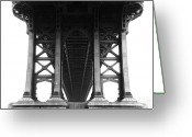 Manhattan Greeting Cards - Manhattan Bridge Greeting Card by Adam Garelick