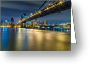 Harlem River Greeting Cards - Manhattan Bridge and Downtown Brooklyn at night. Greeting Card by Val Black Russian Tourchin