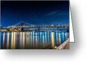 Harlem River Greeting Cards - Manhattan Bridge and light reflections in East River. Greeting Card by Val Black Russian Tourchin
