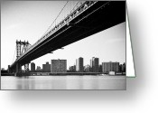 Suspension Bridge Greeting Cards - Manhattan Bridge Greeting Card by Randy Le
