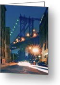 Long Street Photo Greeting Cards - Manhattan Bridge Greeting Card by Thomas Kurmeier