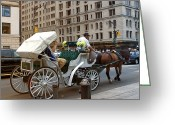 Horse And Buggy Greeting Cards - Manhattan Buggy Ride Greeting Card by Madeline Ellis