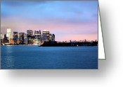 Twin Towers World Trade Center Greeting Cards - Manhattan Dawn Greeting Card by Kristin Elmquist