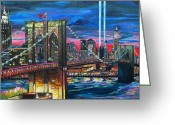 Towers Greeting Cards - Manhattan Kinda Night Greeting Card by Patti Schermerhorn