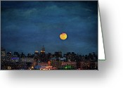 Moonrise Digital Art Greeting Cards - Manhattan Moonrise Greeting Card by Chris Lord