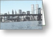 Brooklyn Bridge Mixed Media Greeting Cards - Manhattan New York Greeting Card by Peter Art Prints Posters Gallery