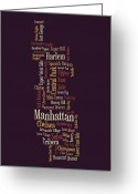 Cities Digital Art Greeting Cards - Manhattan New York Typographic Map Greeting Card by Michael Tompsett