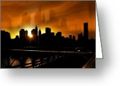 Brooklyn Bridge Mixed Media Greeting Cards - Manhattan Silhouette Greeting Card by Svetlana Sewell