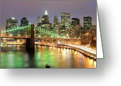 Nautical Vessel Greeting Cards - Manhattan Skyline Greeting Card by Sean Pavone