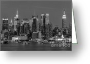 Structures Greeting Cards - Manhattan Twilight IV Greeting Card by Clarence Holmes