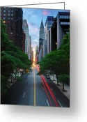Marking Photo Greeting Cards - Manhattanhenge From 42nd Street, New York City Greeting Card by Andrew C Mace