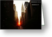 Nyc Cityscape Greeting Cards - Manhattanhenge Sunset Over the Heart of New York City Greeting Card by Vivienne Gucwa