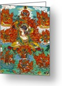 Thanka Greeting Cards - Maning Mahakala with Retinue Greeting Card by Sergey Noskov