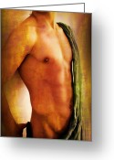 Artistic Nude Greeting Cards - Manipulation In Yellow Greeting Card by Mark Ashkenazi