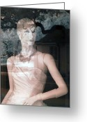 Bare Shoulder Greeting Cards - Mannequin Store Window Reflections I Greeting Card by Sally Rockefeller