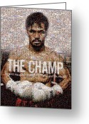 Black Artwork Greeting Cards - Manny Pacquiao-The Champ Greeting Card by Ted Castor