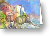 Italy Drawings Greeting Cards - Manorola in Italy 05 Greeting Card by Miki De Goodaboom