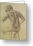 Residential Drawings Greeting Cards - Mans Back Greeting Card by Sarah Parks