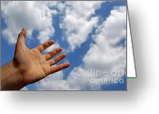 Contemplation Greeting Cards - Mans hand reaching for clouds Greeting Card by Sami Sarkis