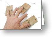 Misfortune Greeting Cards - Mans hand with three mousetraps on fingers Greeting Card by Sami Sarkis