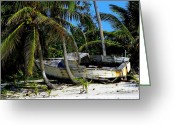 Boats Greeting Cards - Mans Lost Dream Greeting Card by Karen Wiles