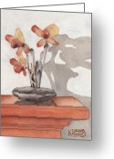 Ken Greeting Cards - Mantel Flowers Greeting Card by Ken Powers