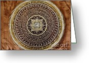 Acrylic Tapestries - Textiles Greeting Cards - Mantra Mandala Greeting Card by Katarina Benova