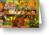 Dominica Alcantara Greeting Cards - Manuel and His Fruit Stand Greeting Card by Dominica Alcantara