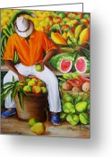 Cuban Painter Greeting Cards - Manuel the Caribbean Fruit Vendor  Greeting Card by Dominica Alcantara