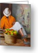 Dominica Alcantara Greeting Cards - Manuel the Fruit Vendor Resting Greeting Card by Dominica Alcantara