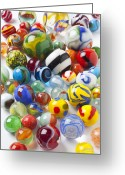 Spheres Greeting Cards - Many beautiful marbles Greeting Card by Garry Gay
