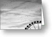 Ferris Wheel Greeting Cards - Many Birds Flying Over Giant Wheel In Berlin Greeting Card by Image by Ivo Berg (Crazy-Ivory)