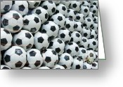 Plenty Greeting Cards - Many soccer balls Greeting Card by Matthias Hauser