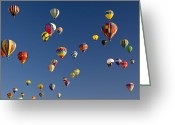 Balloon Fiesta Greeting Cards - Many Vividly Colored Hot Air Balloons Greeting Card by Ralph Lee Hopkins