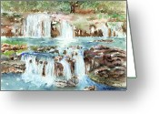 Waterfalls Greeting Cards - Many Waterfalls Greeting Card by Arline Wagner