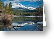 Lassen Greeting Cards - Manzanita Lake Reflects on Mount Lassen Greeting Card by Greg Nyquist