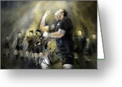 Blacks Greeting Cards - Maori Haka Greeting Card by Miki De Goodaboom