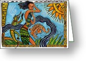 Aboriginal Art Painting Greeting Cards - Maori Woman Dance Greeting Card by Shawn Shea