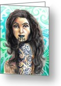 World Series Greeting Cards - Maori Woman Greeting Card by Scarlett Royal
